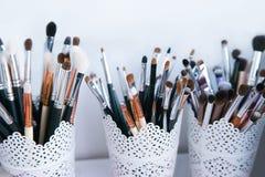 Make-up professional brushes closeup stock photos