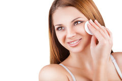 Make-up removal stock photo