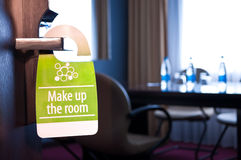 Make up the room sign. This is a closeup of a make up the room sign stock images