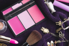 Make-up, rosa Tonrougepalette Lizenzfreies Stockfoto