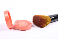 Make-up rouge and professional makeup brush Stock Photography