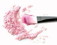 Make up se ruboriza en polvo rosado Imágenes de archivo libres de regalías