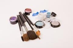 Make up set. Brushes, fake lashes and eye shadows for make up Royalty Free Stock Image