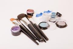 Make up set. Fake eyelashes, brushes and eyeshadows for make up Stock Photos