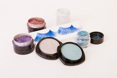 Make up set. Fake lashes and eye shadows for make up Royalty Free Stock Photography