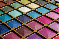 Make up set. Set of make up, close up, shining eyeshadow Royalty Free Stock Photo