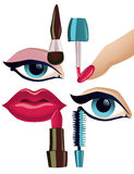 Make-up Set. Vector collection of four basic make-up items vector illustration