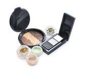 Make up set of eyeshadows. Isolated on white Royalty Free Stock Photography