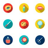 Make up set icons in flat style. Big collection of make up symbol Stock Images