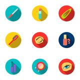 Make up set icons in flat style. Big collection of make up vector symbol Stock Image