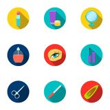 Make up set icons in flat style. Big collection of make up vector symbol stock illustration Stock Image