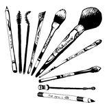 Make-up set of items brush and pencil Royalty Free Stock Image