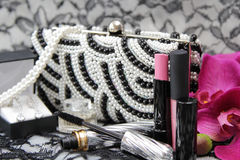 Make up set and jewelry Royalty Free Stock Image