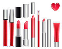 Make-up set for lips. Red color Stock Photography