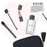 Make-up set: lipstick, brushes, cosmetic bag and perfume sketch illustration. Vector hand drawn beuaty cosmetic products. Fashion. Makeup collection set royalty free illustration