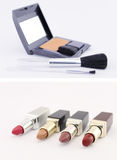 Make up set and lipsticks Royalty Free Stock Images