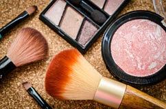 Make up set, soft makeup brushes. Royalty Free Stock Image