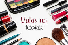 Make up. Make up set with text in the center stock photo