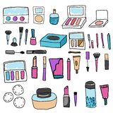 Make up set. Tools and cosmetic. Eyeshadows, lipstick, foundation and other icons in hand drawn quirky style. Make up set. Tools and cosmetic. Eyeshadows royalty free illustration