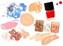 Make up set of various crushed eyeshadows and powder isolate Stock Photography