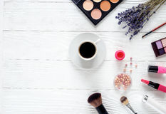Make up set on white table with lavender top view Stock Images