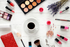 Make up set on white table with lavender top view Stock Photo