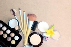 Make up set on wooden background. The Make up set on wooden background stock image