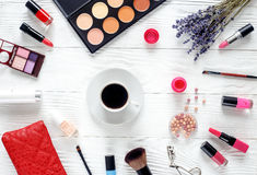 Make up set on wooden table with lavender top view Stock Photo