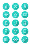 Make up and shopping icon set. Royalty Free Stock Photo