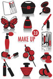 Make-up silhouettes 2. Release 2.0 of two-tone silhouettes of make-up accessories, part of a collection of fashion and lifestyle objects Royalty Free Stock Photography