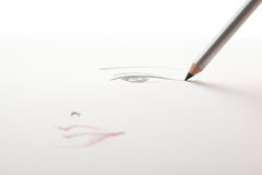 A make-up sketch,  black eye liner pencil drawing Stock Photography