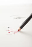 A make-up sketch, with a red lip pencil  mouth Royalty Free Stock Images