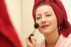 Make-up of smiling woman face. Close up of a smiling woman Stock Photography