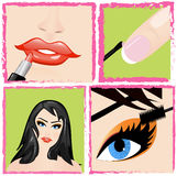 Make up steps and lovely women Royalty Free Stock Photo