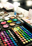 Make up at the studio. Make up products with colorful pigments at the studio Royalty Free Stock Photos