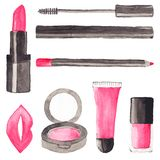 Make up stuff. Set of watercolor beauty items on Stock Photos