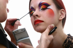 Make up taking bachkstage m Stock Image