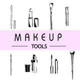 Make up Tools black and white isolated Vector Illustration
