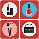Make up tools colorful icon set Royalty Free Stock Photography