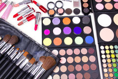 Make-up Tools On White Table Stock Photo
