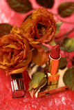 Make up tools and rose Stock Images