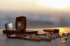 Make up tools at sunset royalty free stock photos