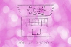 Laptop with make-up products or tutorial on the screen Stock Photos