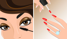 Make-up twice illustration, mascara and nail polish Royalty Free Stock Image