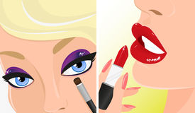 Make-up twice illustration, red lipstick and violet eye shadow Royalty Free Stock Images
