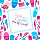 Make-up und Kosmetikhintergrund Lizenzfreie Stockfotografie