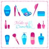 Make-up und Kosmetikikonensatz Lizenzfreies Stockbild