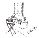 Make up. Vanity table and folding chair illustration. Stock Image