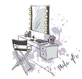 Make up. Vanity table and folding chair illustration. Royalty Free Stock Photography
