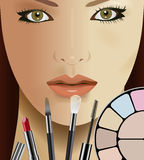 Make up. Vector Beautiful Woman and Makeup Kit, Eps 10 Vector, Gradient Mesh and Transparency Used Royalty Free Stock Photography